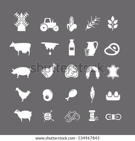 white icons with farm animals