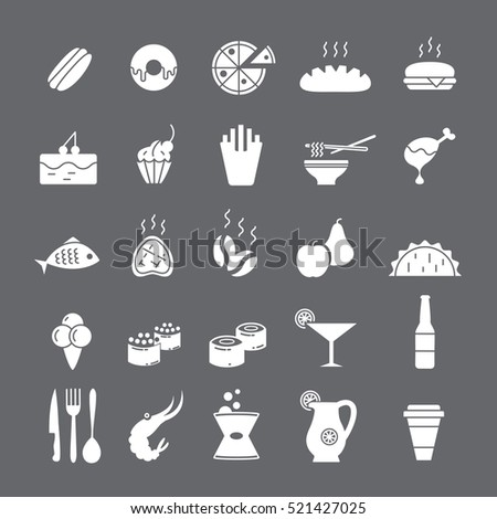 White icons with food