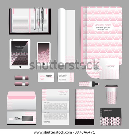 White identity template with origami elements. Vector company style for brandbook guideline and Pens mugs CDs books business cards letterhead flag Card Portfolio employees Tablet #397846471