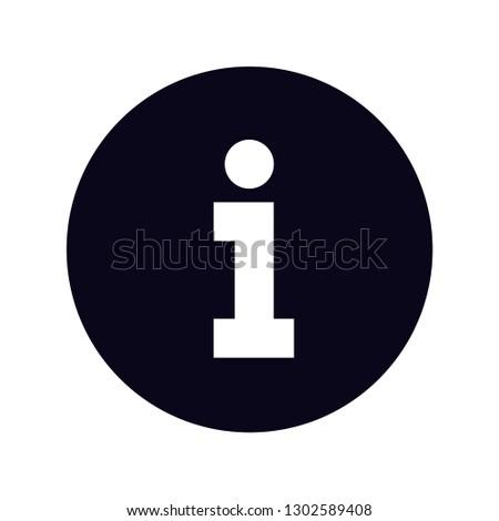 white information symbol icon inside black circle slab serf i