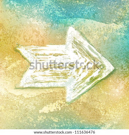 White ink sketch arrow sign created paint brushstroke on vintage background with grunge texture cracks, remnants of the paint layer and noise effect. Vector illustration clip-art design element 10 eps