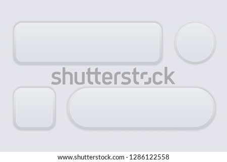 White interface buttons. Blank 3d icons. Vector illustration #1286122558