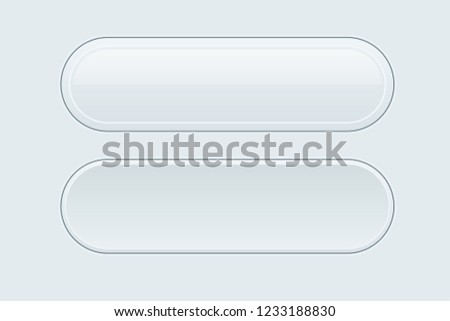 White interface buttons. Oval 3d icons. Vector illustration #1233188830