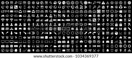 White internet web icons collection on black background