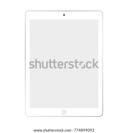 White ipad tablet with light grey screen on white background.
