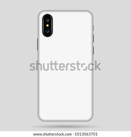 white Iphone X case for phone vector illustration.  Iphone 10 case mockup