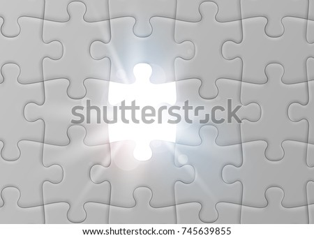 white jigsaw puzzle with missed