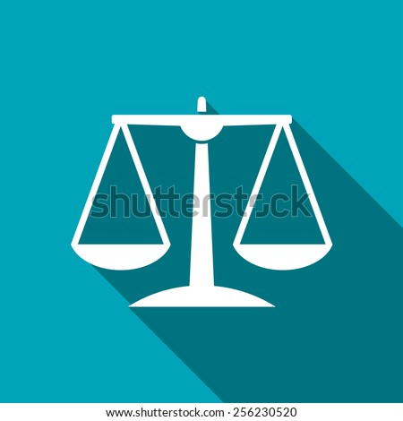 White Justice scale icon on blue background