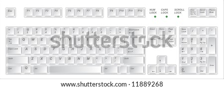 White keyboard. Vector illustration