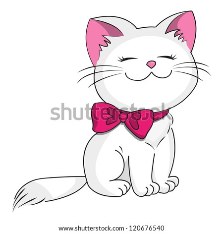white kitty with pink bow