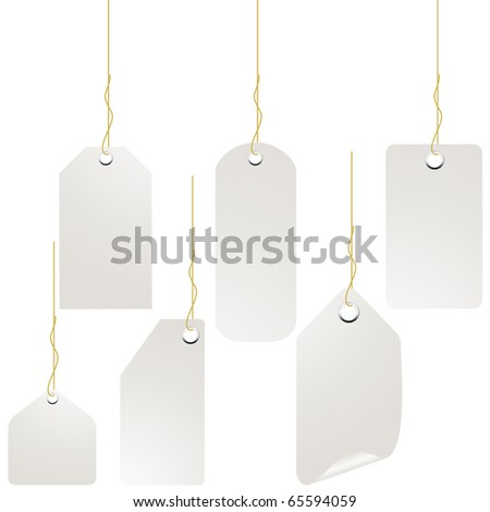 White label tag set isolated on white vector
