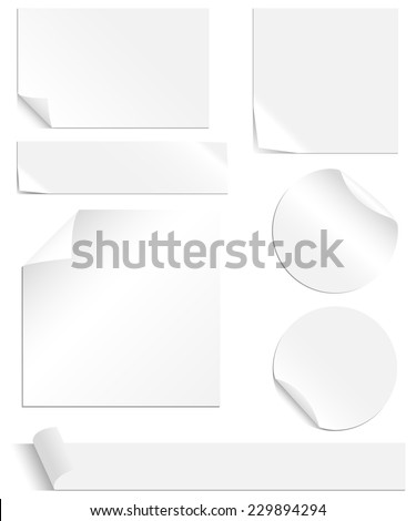 White Labels Set - Collection of blank labels with peeling and creased corners. Each element is grouped individually for easy editing. Colors are global swatches, so they can be changed easily. #229894294