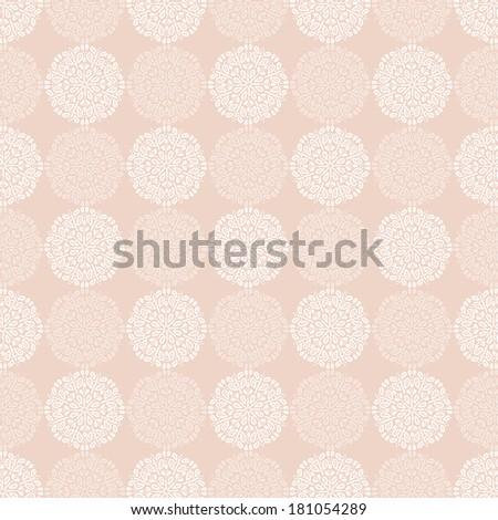 White lace flower pattern on powder beige background