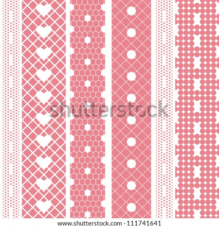 White lace ribbons vector fabric seamless  pattern with hearts