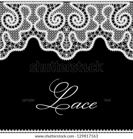 White lace seamless borders on black, realistic vector lace texture, monochrome background