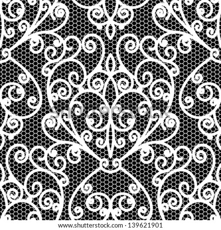 White lace seamless pattern, vintage vector floral texture on black