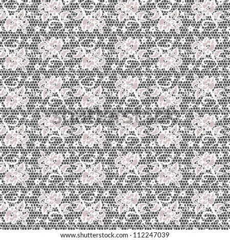 white lace with seamless floral pattern on black background