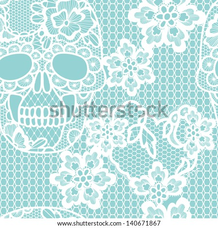 White lacy skull and flowers.Trendy  vector seamless pattern. - stock vector