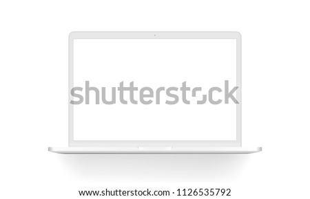 White laptop mock up - front view. Vector illustration