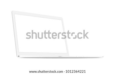White laptop mockup with perspective 3/4 left view. Responsive blank screen to display web-site design. Vector illustration