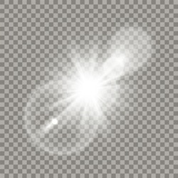 White lens flare effect. Transparent halo, glares and particles. Realistic light elements.
