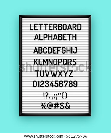 White letterboard with black plastic letters, numbers, symbols. Hipster vintage alphabeth 80x, 90x