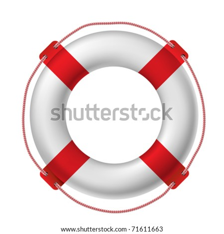White life buoy, vector illustration.. Contain gradient mesh