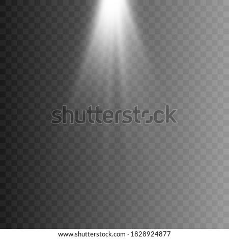 White light, rays of light. White flash png. Light, lighting. Vector illustration.