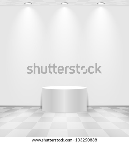 White lightened room with round stage and checked floor