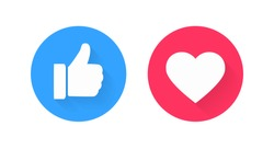 White Like with approval thumb up on blue circle and heart on a red background. Isolated vector illustration with trendy good and love customer experience feedback for social media network design