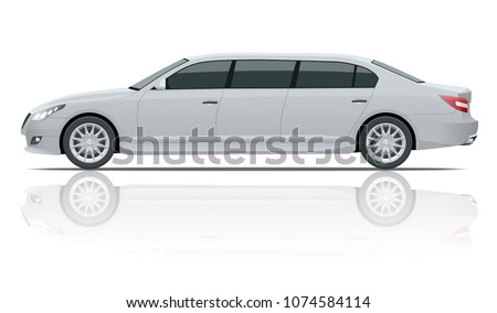 White limousines isolated on white. Template limousine icon vector. Premium people transportation. Viev side.
