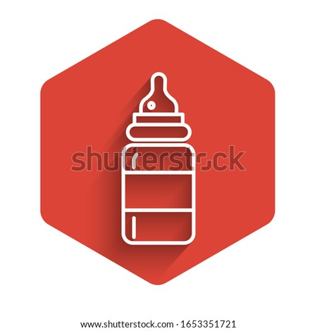 White line Baby bottle icon isolated with long shadow. Feeding bottle icon. Milk bottle sign. Red hexagon button. Vector Illustration