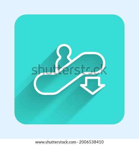 white line escalator down icon