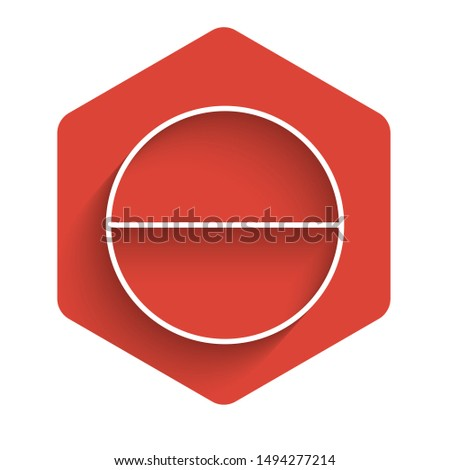 White line Medicine pill or tablet icon isolated with long shadow. Capsule pill and drug sign. Pharmacy design. Red hexagon button. Vector Illustration