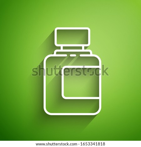 White line Sauce bottle icon isolated on green background. Ketchup, mustard and mayonnaise bottles with sauce for fast food.  Vector Illustration