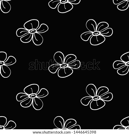 White line seamless pattern with simple flower. Simple doodle hand drawn art. Vector linear design on black background.
