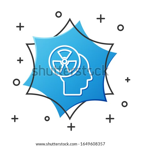 White line Silhouette of a human head and a radiation symbol icon isolated on white background. Blue hexagon button. Vector Illustration
