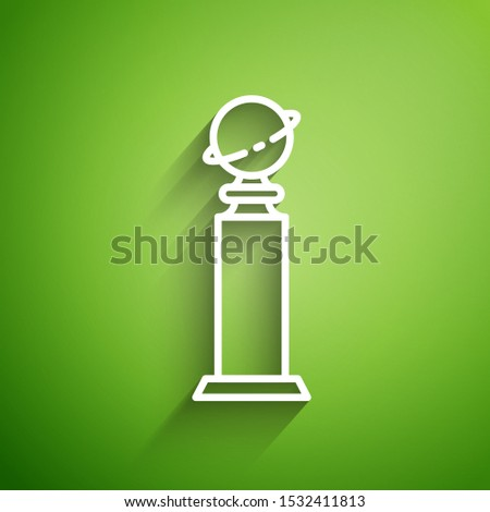 White line Trophy Golden Globe icon isolated on green background. Academy award icon. Films and cinema symbol.  Vector Illustration