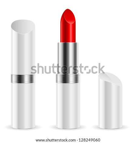White lipstick closed and open. Illustration on white background.