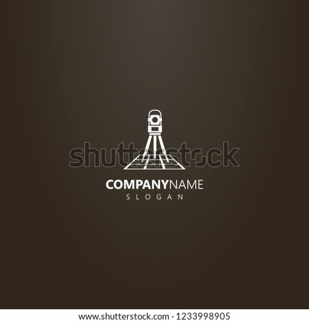 white logo on a black background. vector simple geometric logo of total station on a map