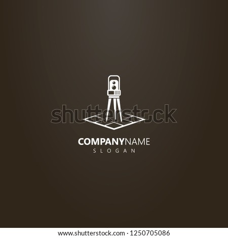 white logo on a black background. vector simple geometric logo of total station on a rhombus map