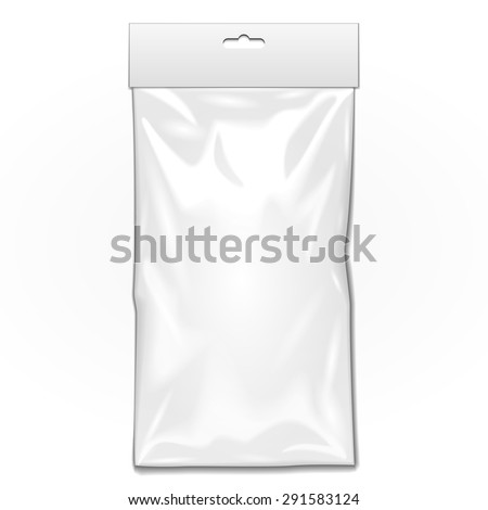 White Long Blank Plastic Pocket Bag. Transparent. With Hang Slot. Illustration Isolated On White Background. Mock Up Template Ready For Your Design. Vector EPS10