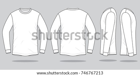 White long sleeve t shirt for template (Front,Back and side views)