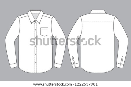 White Long Sleeve Uniform Shirt Vector for Template.Front And Back Views.