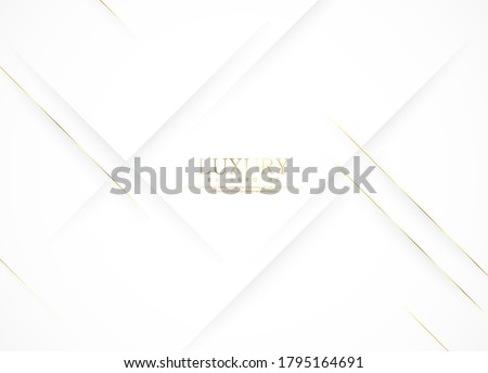 White luxury abstract background with golden lines and shadows. Premium vector illustration