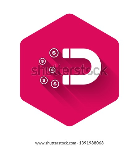 White Magnet with money icon isolated with long shadow. Concept of attracting investments, money. Big business profit attraction and success. Pink hexagon button. Vector Illustration