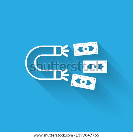 White Magnet with money line icon isolated with long shadow. Concept of attracting investments, money. Big business profit attraction and success. Vector Illustration
