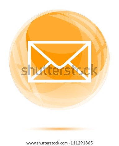 White mail icon in the orange glass sphere