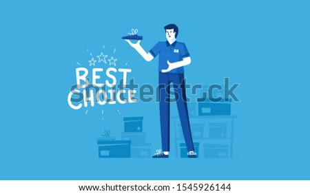 White male seller sells shoes. The inscription - the best choice. Vector flat modern illustration.