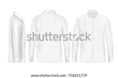 White male shirt with long sleeves and buttons in front, back and side view, isolated on a gray background. 3D realistic vector illustration, pattern formal or casual shirt